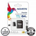 64GB ADATA Premier microSDXC+SD ADAPTER CLASS 10 UHS-I