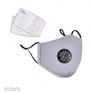 Mosható pamut egészségügyi szájmaszk, állítható pánttal és cserélhető PM2.5-ös szűrőbetéttel - sz...