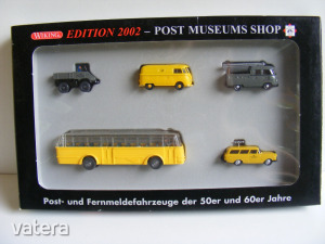 FA54 H0 1:87 Wiking 80-06 Edition 2002 Posta szett, VW Transporter T1, Unimog, Opel, Büssing TU 5000