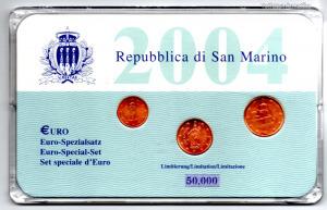 San Marino EURO forgalmi sor 1 - 2 - 5  Cent 2004