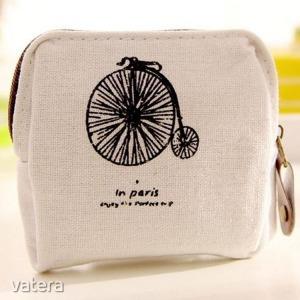 Bélelt, cipzáras vászon pénztárca - Kerékpár mintával