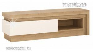 LEONARDO TV Asztal 02, LED világítással, magasfényű fehér - riviéra tölgy