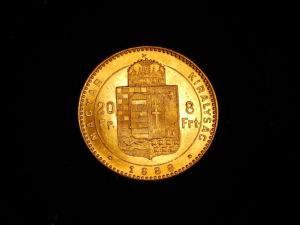 Arany 8 Forint, I. Ferencz József 1888 Körmöczbánya, nagyon szép állapotban
