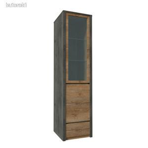 Vitrines szekrény, tölgy lefkas sötét/smooth szürke, MONTANA W1D