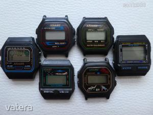 5db ritka LCD ASAHI Quartz + 1db LCD Memory Protect férfi karóra a 90-es évekből! Alkatrésznek!