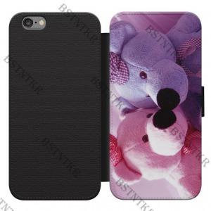 Szerelmes macik mintás iPhone 4 4s kinyitható flip flipes tok oldalra nyíló