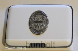 Bankkártya tartó metál fehér színű ón Erdély címer matricával