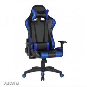 Gamer szék Silverstone fekete-kék - Irodai forgószék, levehető fejtámla, gázliftes hintamechanika