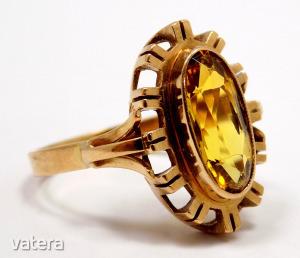 Sárga köves arany gyűrű (ZAL-Au 92651)