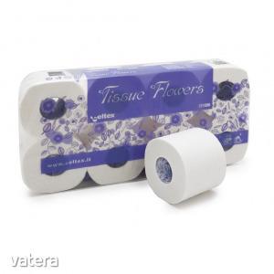 Celtex Tissue Flower toalettpapír 3 réteg, cellulóz, 250 lap, 30m, 8 tekercses, 9 csomag/zsák
