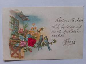 Képeslap, levelezőlap - virágok  rózsa madár motívum dombornyomott 1900. körül