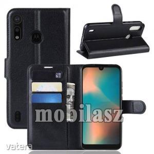 MOTOROLA P40 Play, WALLET notesz mobiltok, Fekete