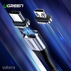 Ugreen Micro USB kábel mágneses csatolófejjel - 100 cm hosszú, fekete színben - KÉSZLETRŐL!