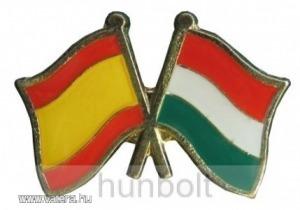 Kitűző, páros zászló Spanyol-Magyar jelvény 26x15 mm