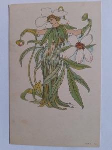 Képeslap, levelezőlap - virágok hölgy női alak motívum 1900. körül