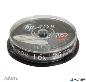 BD-R BluRay lemez, 25GB, 6x, 10 db, hengeren, HP