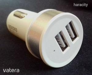 Autós Szivargyújtós 2x USB Töltő - Fehér
