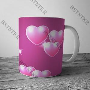 Pink szives mintás bögre Valentin napra Valentin nap