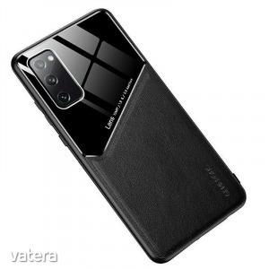 Lens tok - Xiaomi Redmi Note 9 fekete üveg / bőr tok beépített mágneskoronggal