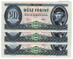 20 Forint Bankjegy 1975 aUNC sorszámkövető 3 db