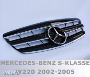 Mercedes Benz W220 2002- 2005 fekete króm hűtőrács AMG stílusban