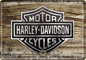 Harley Davidson - Wood Logo Metal Postkort. fém képeslap