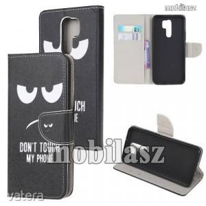 Notesz / mappa tok - Do Not Touch My Phone MINTÁS - oldalra nyíló, rejtett mágneses záródás, bels...
