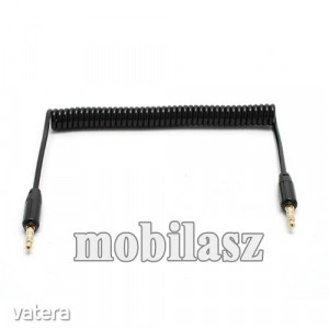 Audió kábel 2 x 3.5 mm, 4 pólusú jack csatlakozó, 0.35m, spirálkábel, AUX, Fekete