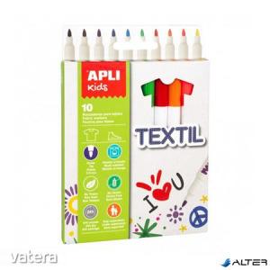 Textilmarker, 2,9 mm, APLI Kids Textil, 10 különböző szín