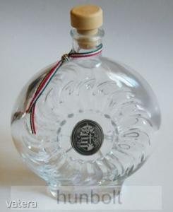 Boros/pálinkás üvegkulacs ón Kossuth címerrel 0,5 l