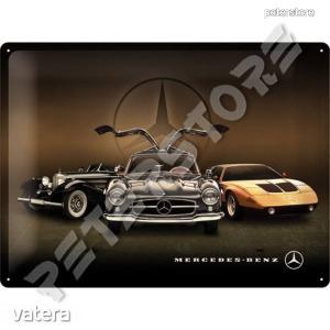 Retró Fém Tábla - Mercedes-Benz Autók Dombornyomott