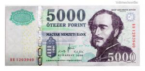 5000 Forint Bankjegy 2008 BB széria