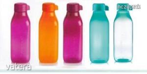 Új tupperware szögletes 500 ml öko palack sima csavarós kupakkal akciósan eladó 5 színben