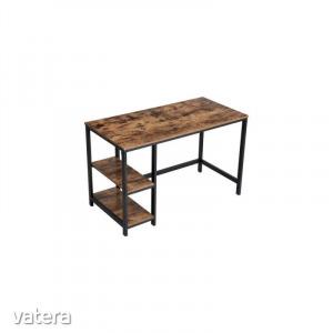 Vintage számítógép asztal - Fémvázas, retro, antikolt fa számítógép asztal