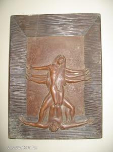 Szimbólikus erotikus jelenetet ábrázoló nagyon szép kézi faragás előkerülés állapotában....