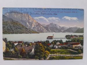 Képeslap,levelezőlap - Gmunden Salzkammergut Ausztria 1913 Orth és Traunstein kastély  Stengel litho