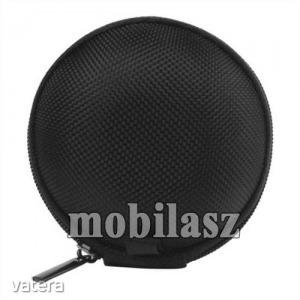 Fülhallgató, headset, james bond textil tok, cipzáras, 67 mm átmérőjű, Fekete