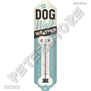 Retró Fém Hőmérő - Kutya sétáltató időjárás