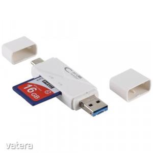 USB 3.0 / USB-C / micro USB csatlakozású memóriakártya író-olvasó, fehér