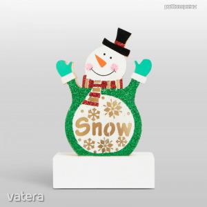 Karácsonyi LED asztali dekor fából - hóember