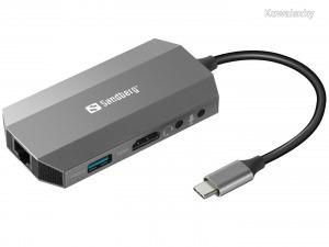 Sandberg USB-C 6 in1 Travel Dock Gray 136-33