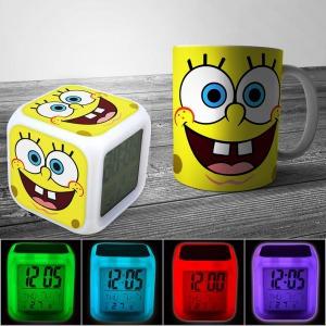 Spongebob mintás bögre és szines színváltós óra ébresztőóra hőmérő
