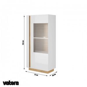 CITY alacsony vitrines szekrény, fehér/Grandson tölgy /magasfényű fehér