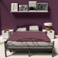 Fém ágykeret ajándék ágyráccsal, 160 x 200 cm, Fekete