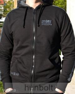 Harcos kapucnis zipzáras fekete pulóver, szürke csíkkal