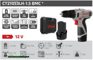 Crown Akkus csavarbehajtó 12V 2db 1,5 Ah rúdakku, töltő, koffer CT21053LHBMC