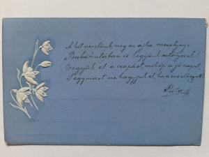 Képeslap, levelezőlap - virágok csendélet motívum 1900. körül dombornyomott