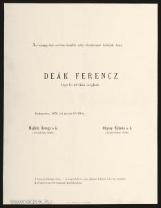 """Deák Ferenc """"a haza bölcse"""" a Magyar Országgyűlés által kibocsájtott gyászjelentése *812"""