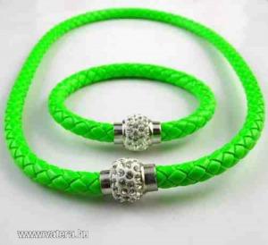 Shamballa fonott zöld bőr karkötő  nyaklánc Van