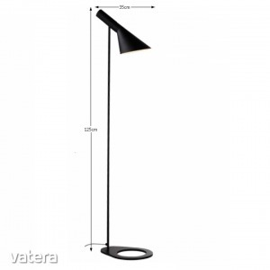Állólámpa, fekete fém,  CINDA TIP 2 F6114